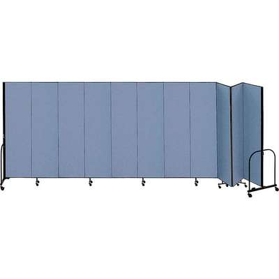 11 Panel Fully Assembled Portable Room Divider; 6 ft. H x 20 ft. 5 in. W, Blue