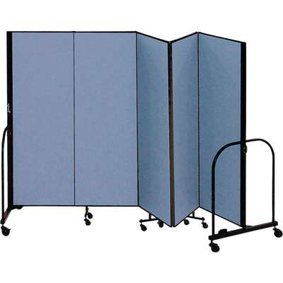 5 Panel Fully Assembled Portable Room Divider; 7 ft. 4 in. H x 9 ft. 5 in. W, Blue