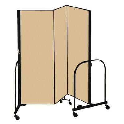 3 Panel Fully Assembled Portable Room Divider; 6 ft. H x 5 ft. 9 in. W, Beige