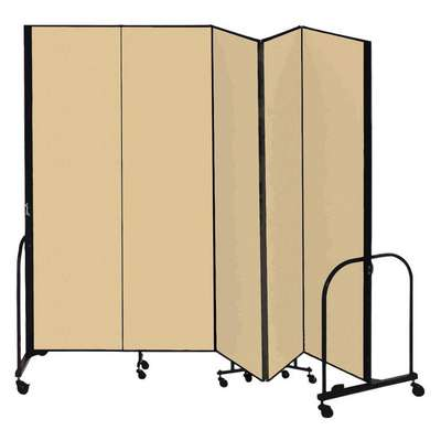 5 Panel Fully Assembled Portable Room Divider; 8 ft. H x 9 ft. 5 in. W, Beige