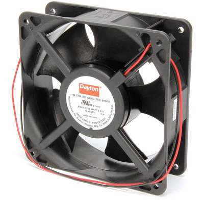 "Standard Square Axial Fan, 4-11/16"" Height, 4-11/16"" Width, 1-1/2"" Depth, 12VDC, Lead Wires"