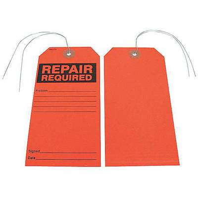 "Repair Required Tag, Paper, Height: 5-3/4"", Width: 2-7/8"", Fluorescent Red"