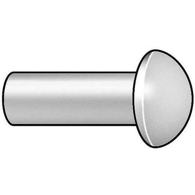 Solid Rivet 1/4 in. Diameter 1.5 in. Length, Round Head, Aluminum, Soft, 50 PK