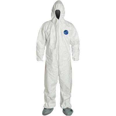 Hooded Disposable Coveralls with Elastic Cuff, Tyvek® 400 Material, White, 2XL