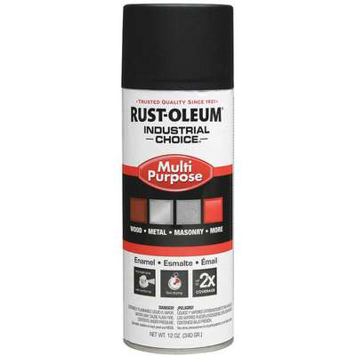 Industrial Choice Spray Paint in Flat Black for Masonry, Metal, Plastic, Wood, 12 oz.