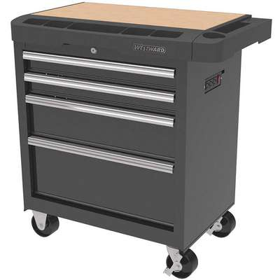 "Black Standard Duty Rolling Cabinet, 33-5/16"" H X 34-5/16"" W X 19-1/2"" D, Number of Drawers: 4"