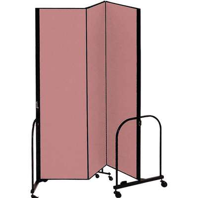 3 Panel Fully Assembled Portable Room Divider; 7 ft. 4 in. H x 5 ft. 9 in. W, Mauve