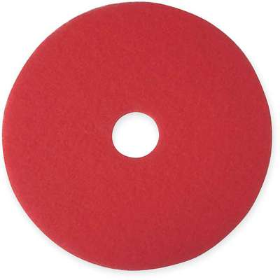 "14"" Non-Woven Polyester Fiber Round Buffing and Cleaning Pad, 175 to 600 rpm, Red, 5 PK"