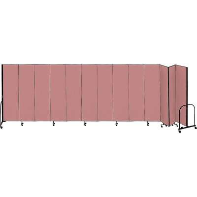13 Panel Fully Assembled Portable Room Divider; 5 ft. H x 24 ft. 1 in. W, Mauve