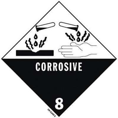 "DOT Label, Class 8, Corrosive, Vinyl, Self-Sticking, Black/White, 4"" Height, PK 25"