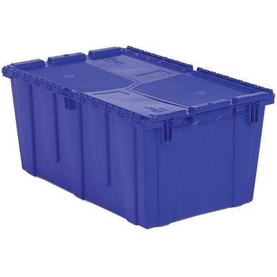 "Attached Lid Container, Blue, 12-1/8""H x 26-7/8""L x 16-7/8""W, 1EA"
