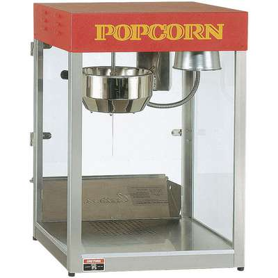 "21"" x 14-1/2"" x 27-1/2"" 6 oz. Stainless Steel Popcorn Maker, Silver/Red"