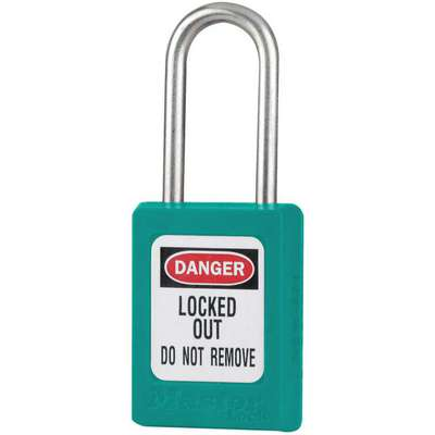 Teal Lockout Padlock, Different Key Type, Thermoplastic Body Material, 1 EA