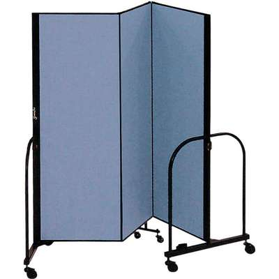 3 Panel Fully Assembled Portable Room Divider; 5 ft. H x 5 ft. 9 in. W, Blue