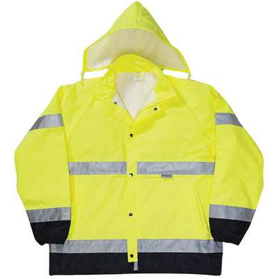 Rain Jacket, High Visibility: Yes, ANSI Class: Class 3, Type R, Polyester, Polyurethane, M, Black/Ye