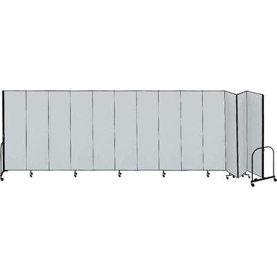 13 Panel Fully Assembled Portable Room Divider; 5 ft. H x 24 ft. 1 in. W, Gray