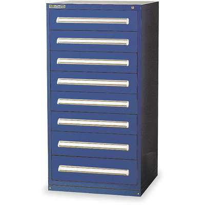 "Stationary Full Height Modular Drawer Cabinet, 8 Drawers, 30""W x 27-3/4""D x 59""H Dark Blue"