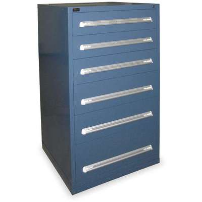 "Stationary Full Height Modular Drawer Cabinet, 6 Drawers, 30""W x 27-3/4""D x 59""H Dark Blue"