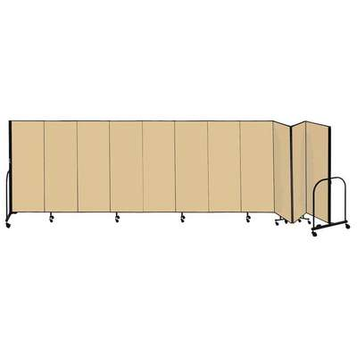 11 Panel Fully Assembled Portable Room Divider; 4 ft. H x 20 ft. 5 in. W, Beige