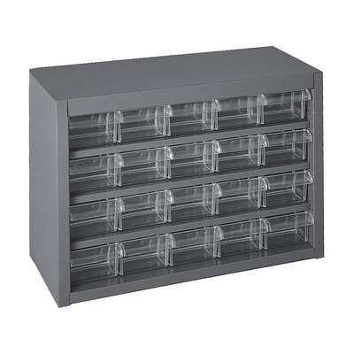 "Steel Drawer Bin Cabinet, 16-3/4""W x 6-1/4""D x 11-1/4""H, 20 Drawers, Gray"