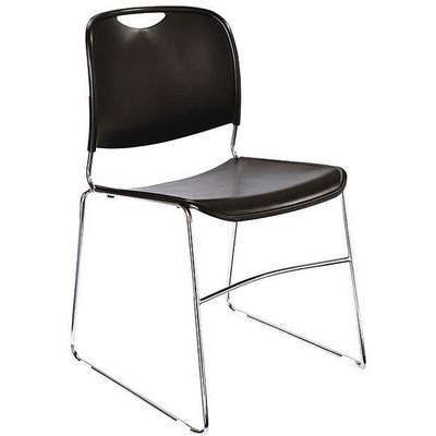 Chrome Steel Stacking Chair with Black Seat Color, 4PK