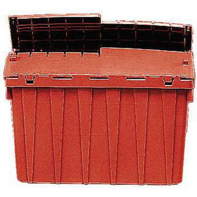 "Attached Lid Container, Red, 9-3/8""H x 21-15/16""L x 15-1/4""W, 1EA"