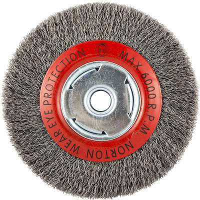 6 in. Crimped Wire Wheel Brush, Carbon Steel, 0.014 in. Wire Dia., 1-1/8 in. Trim Length