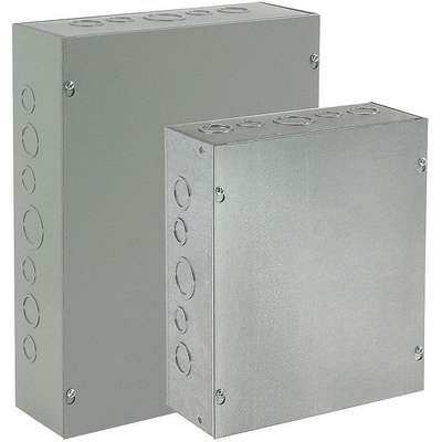 "4""H x 4""W x 3""D Metallic Enclosure, Gray, Knockouts: Yes, Screws Closure Method"