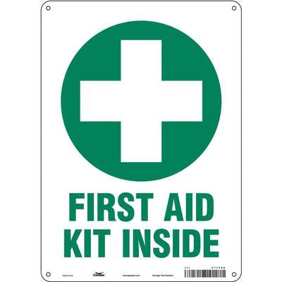 "First Aid, No Header, Vinyl, 14"" x 10"", Adhesive Surface, Not Retroreflective"