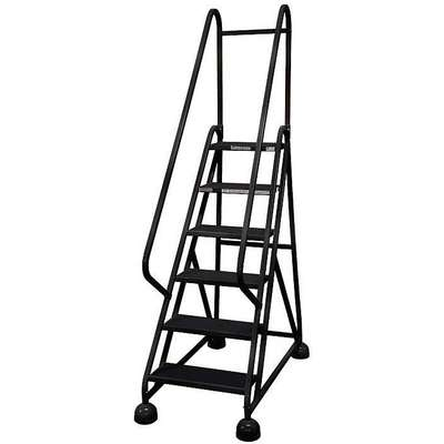 "6-Step Rolling Ladder, Antislip Vinyl Step Tread, 84"" Overall Height, 450 lb. Load Capacity"