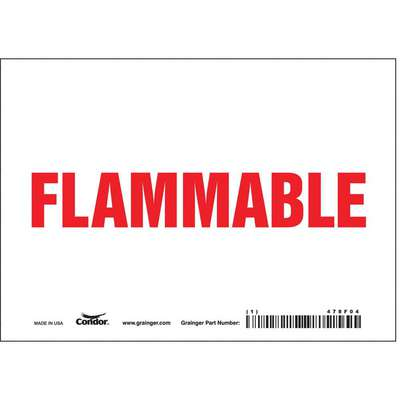 Vinyl Flammable Materials Sign with No Header, 5 in. H x 7 in. W