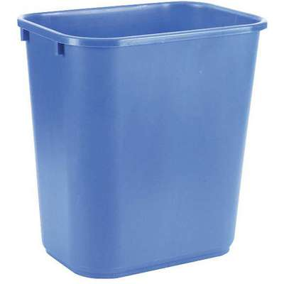 7 gal. Rectangular Recycling Wastebasket, Plastic, Blue
