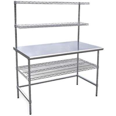 "Workstation, Stainless Steel, 30"" Depth, 63"" Height, 60"" Width, 600 lb. Load Capacity"