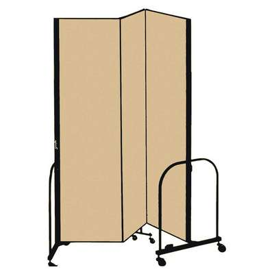 3 Panel Fully Assembled Portable Room Divider; 7 ft. 4 in. H x 5 ft. 9 in. W, Beige