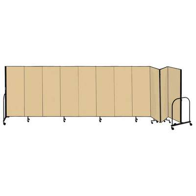11 Panel Fully Assembled Portable Room Divider; 5 ft. H x 20 ft. 5 in. W, Beige