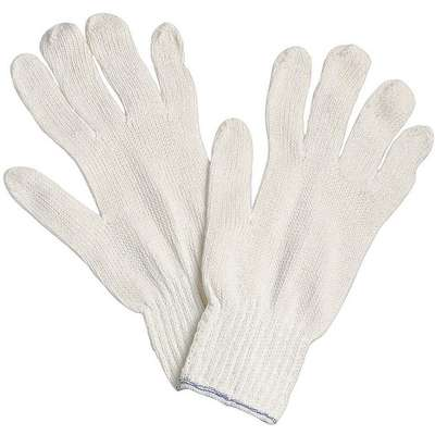 Knit Gloves, Polyester/Cotton Material, White, Glove Size: M