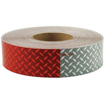 Reflective Tape, W 2 In, Red/White