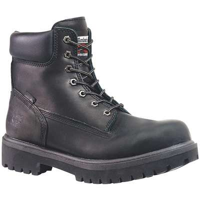 "6""H Men's Work Boots, Plain Toe Type, Leather Upper Material, Black, Size 11-1/2"