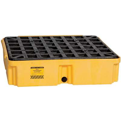 Eagle® 15 gal. Polyethylene Drum Spill Containment Platform for 1 Drum; Drain Included: Yes, Black, Yellow