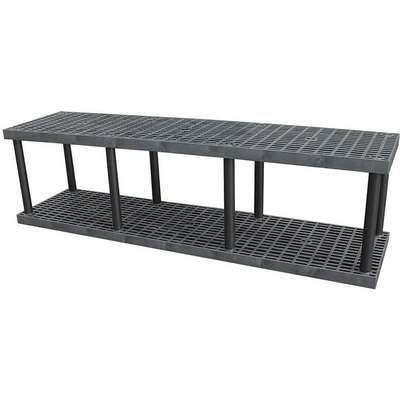 "Freestanding Open Plastic Shelving, 96""W x 24""D x 27""H, 1000 lb. Load Cap., 2 Shelves, Black"
