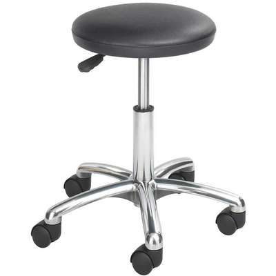 "Round Stool with 16"" to 21"" Seat Height Range and 250 lb. Weight Capacity, Black"