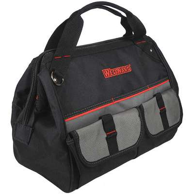 "Polyester, General Purpose, Wide-Mouth Tool Bag, Number of Pockets 21, 11-1/2"" Overall Height"