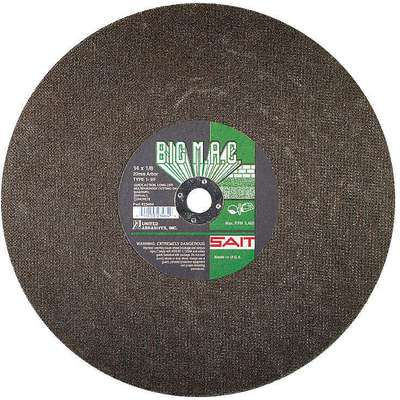 "14"", Type 1 Silicon Carbide Abrasive Cut-Off Wheel, 1"" Arbor Hole Size, 0.125"" Thickness"