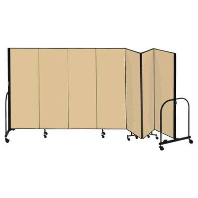 7 Panel Fully Assembled Portable Room Divider; 4 ft. H x 13 ft. 1 in. W, Beige