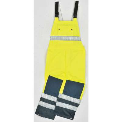 Rain Bib Overall, High Visibility: Yes, ANSI Class: Class E, Polyester, Polyurethane, L, Yellow\Gree