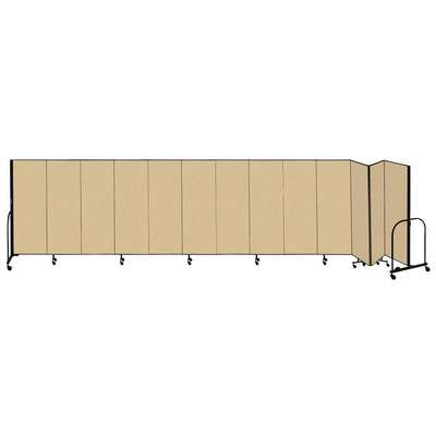 13 Panel Fully Assembled Portable Room Divider; 6 ft. H x 24 ft. 1 in. W, Beige