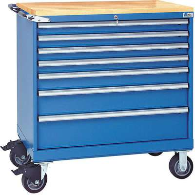 "Mobile Counter Height Modular Drawer Cabinet, 7 Drawers, 40-1/4""W x 22-1/2""D x 43-1/4""H Bright Blue"