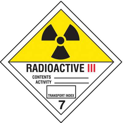 "DOT Label, Class 7, Radioactive III, Vinyl, Self-Sticking, Black, Red/White, Yellow, 4"" Height"