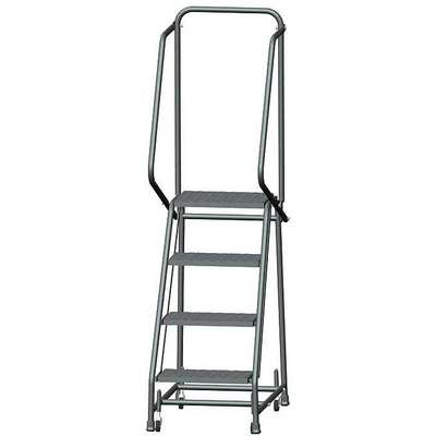 "4-Step Rolling Ladder, Expanded Metal Step Tread, 68"" Overall Height, 450 lb. Load Capacity"