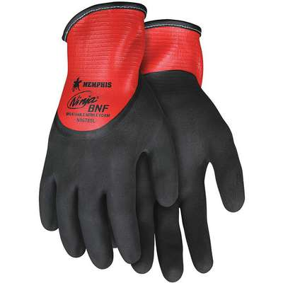Coated Gloves, S, 3/4 Dip, Foam Nitrile Glove Coating Material, 5 ANSI/ISEA Abrasion Level